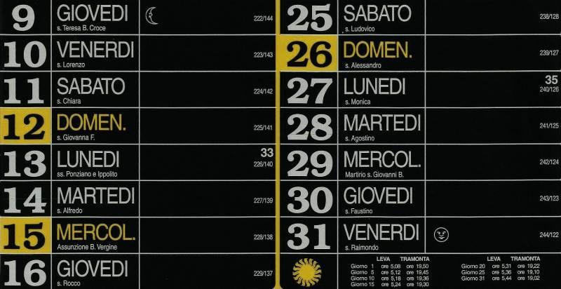 Calendario 2012 - Agosto