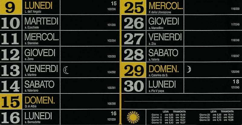Calendario 2012 - Aprile