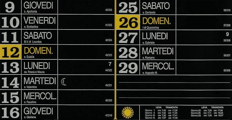 Calendario 2012 - Febbraio