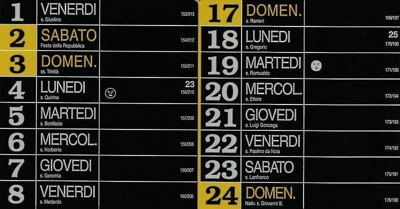 Calendario 2012 - Giugno
