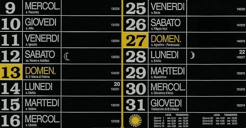 Calendario 2012 - Maggio