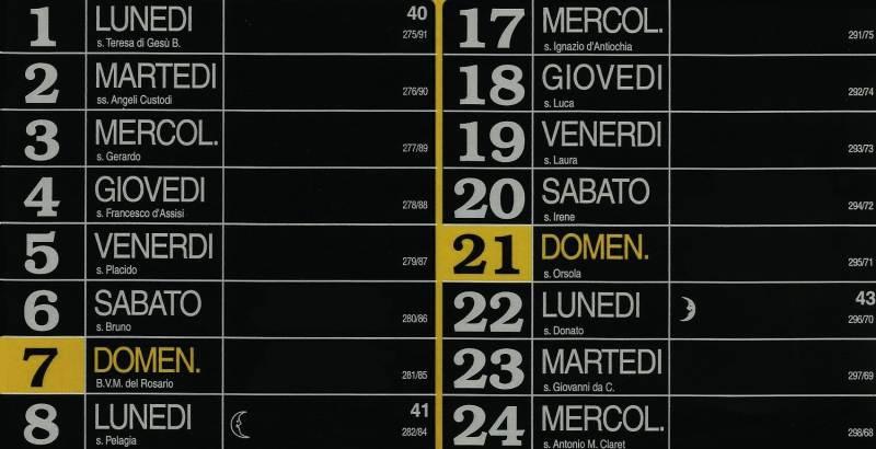 Calendario 2012 - Ottobre