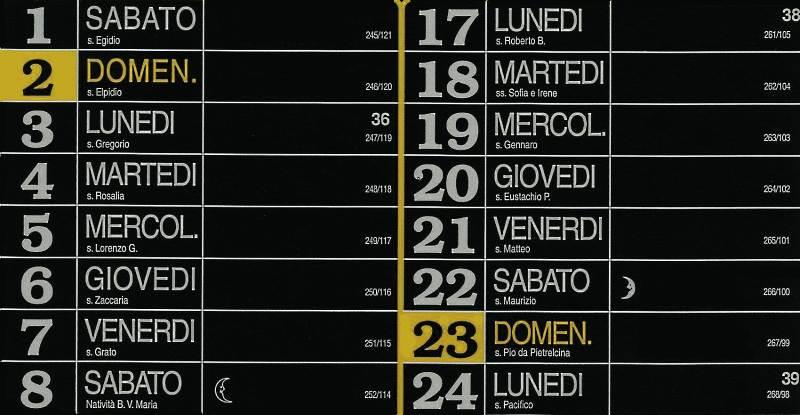 Calendario 2012 - Settembre